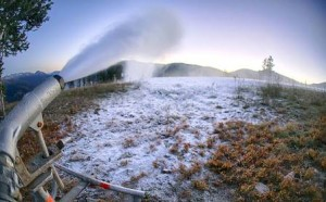 Snowmaking started last week at Copper Mountain, which hosts early U.S. Ski Team training (Copper Mountain photo).