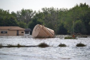 flooded oil storage tank