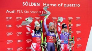 Mikaela Shiffrin celebrates her win in Soelden Saturday (US Ski Team photo).