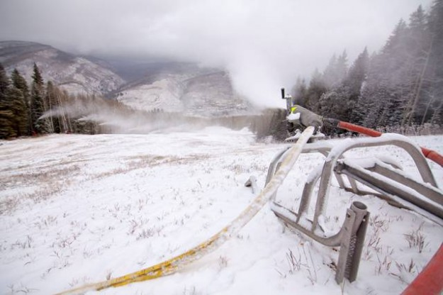 snowmaking on vail mountain