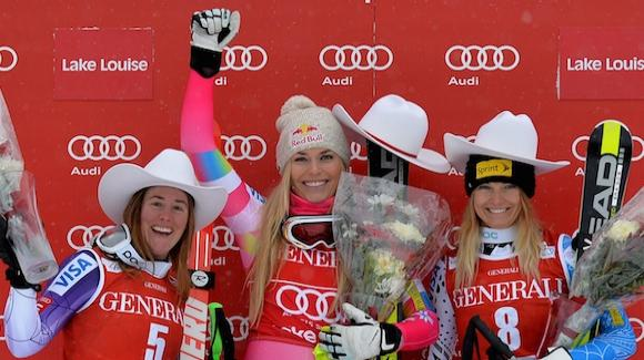 lindsey vonn podium sweep