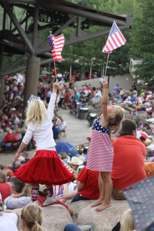 Patriotic Concert fans by John Dakin
