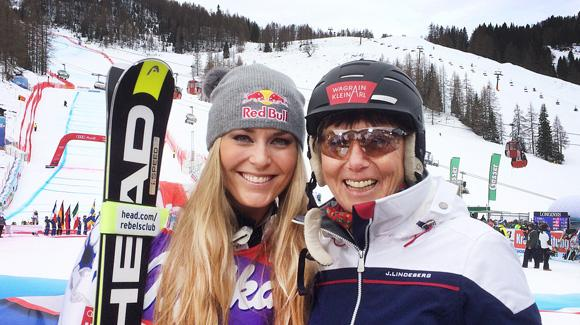 Lindsey Vonn (Vail, CO) and Austria's Annemarie Moser-Proell are all smiles after Vonn tied Moser-Proell's World Cup downhill victory record with win number 36 in a two-run Audi FIS World Cup sprint downhill Saturday.