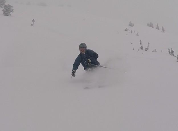 sweeney skiing powder