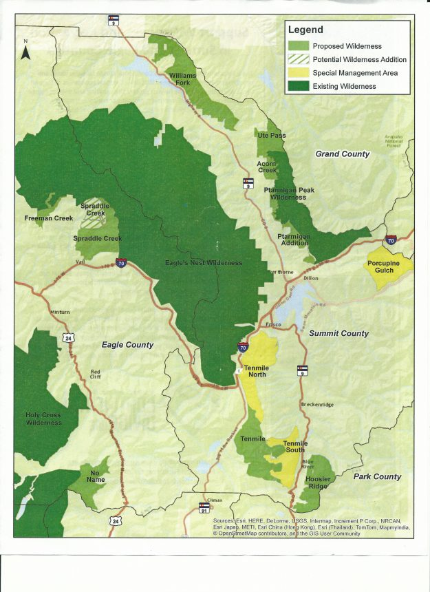 continental divide wilderness and recreation act map