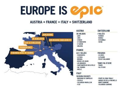 Epic Pass Euro map